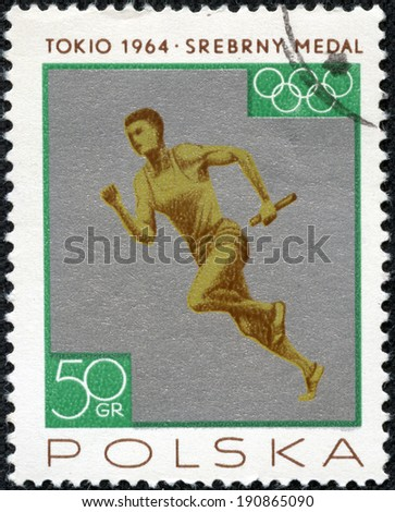 POLAND - CIRCA 1965: a stamp printed in the Poland shows Relay Race, Men, Silver Medal won by the Polish Team in Tokyo 1964 Olympic Games, circa 1965 - stock photo