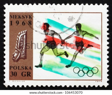 POLAND - CIRCA 1968: a stamp printed in the Poland shows Relay Race, Summer Olympic sports, Mexico 68, circa 1968 - stock photo