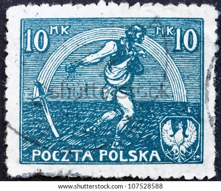 POLAND - CIRCA 1921: a stamp printed in the Poland shows Sower and Rainbow of Hope, Signing of Peace Treaty with Russia, circa 1921 - stock photo