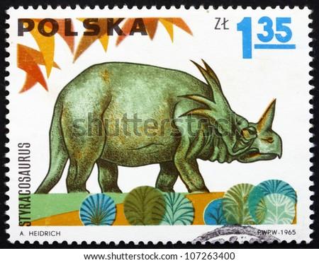 POLAND - CIRCA 1965: a stamp printed in the Poland shows Styracosaurus, Dinosaur, circa 1965 - stock photo