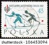 POLAND - CIRCA 1962: a stamp printed in the Poland shows Woman Skiers, World Ski Championships at Zakopane, Poland, circa 1962 - stock photo