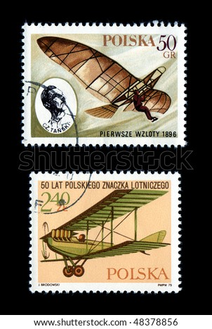 POLAND - CIRCA 1975: Air Postage Stamp Isolated on Black Airplane Flight Antique Biplane, circa 1975 Poland