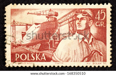 POLAND - CIRCA 1956: Brown color stamp printed in Poland with image of a shipbuilder worker in an industrial shipyard, circa 1956.