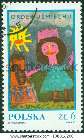 "POLAND - CIRCA 1983: Children's drawing ""Girl near house"", circa 1983."