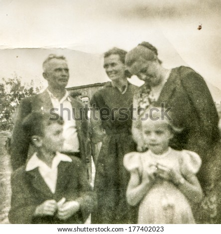 POLAND, CIRCA FORTIES - Vintage photo of family with children
