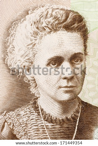 POLAND - CIRCA 2011: Marie Curie (1867-1934) on 20 Zlotych 2011 Banknote from Poland. French-Polish physicist and chemist famous for her pioneering research on radioactivity. - stock photo