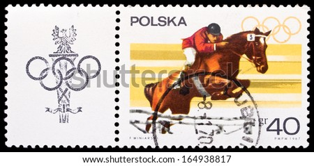 "Poland- Circa 1967: Poland stamp dedicated to steep chase, from series ""Sport and Olympic rings"", circa 1967."
