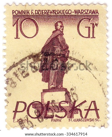 POLAND - CIRCA 1955: Postage stamp printed in Poland, shows a monument to Soviet statesman, Polish and Russian revolutionary Felix Dzerzhinsky, Warsaw, circa 1955 - stock photo
