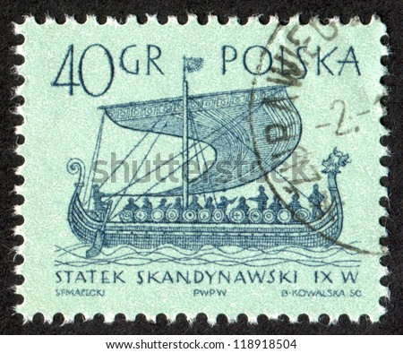 POLAND - CIRCA 1963: Postage stamp printed in Poland shows Scandinavian Gokstad. (Statek skandynawski ). Ancient Ships. Scott catalog 1128 A398 40gr, circa 1963