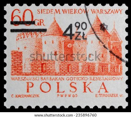 POLAND - CIRCA 1965: Postage stamp printed in Poland, shows the Barbican, Gothic-Renaissance castle, circa 1965 - stock photo