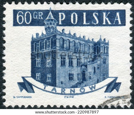 POLAND - CIRCA 1958: Postage stamp printed in Poland, shows the town hall in Tarnow, circa 1958