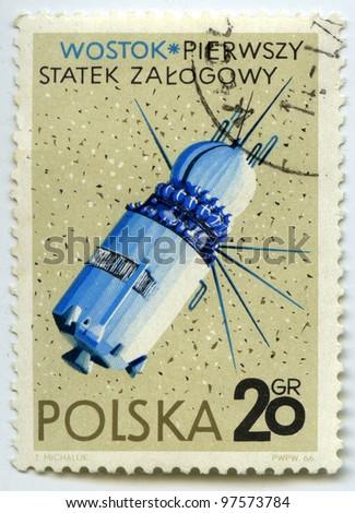 "POLAND - CIRCA 1966: Postage stamps printed in Poland shows Soviet first manned spacecraft ""Vostok "", circa 1966 - stock photo"
