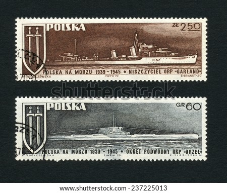 "Poland - CIRCA 1970 : Postage stamps printed in Poland shows the Navy destroyer ""Garland"" and Submarine ""Orzel"" , circa 1970"