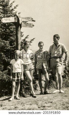 POLAND, CIRCA SIXTIES: Vintage photo of youngsters during a mountain trekking