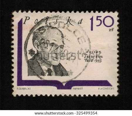 Poland- Circa 1969: stamp printed by Poland shows Julian Tuwim and finally Polish poet, prose writer. From the Polish writers, circa 1969