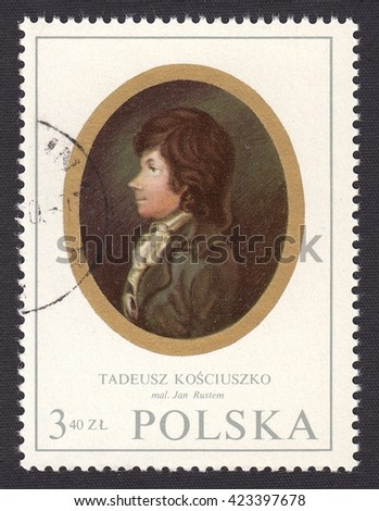 POLAND-CIRCA 1970:stamp printed by Poland,shows miniature portrait Tadeusz Kosciuszko(1746-1817)-military and political leader of Commonwealth and United States,the national hero of Poland,circa 1970 - stock photo