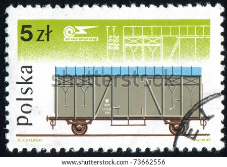 POLAND - CIRCA 1985: stamp printed by Poland, shows railcar, circa 1985.