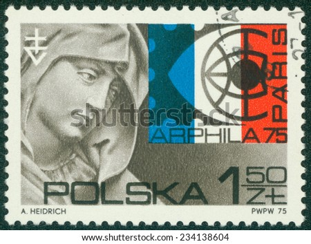 POLAND - CIRCA 1975: stamp printed by Poland, shows St. Anne, by Veit Stoss, Arphila Emblem, circa 1975 - stock photo