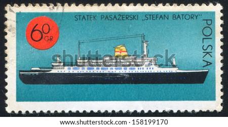 POLAND - CIRCA 1971: stamp printed by Poland, shows Transatlantic Liner Stefan Batory, circa 1971 - stock photo