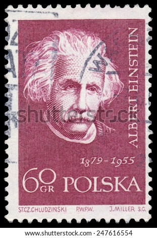 POLAND - CIRCA 1959: Stamp printed in Poland shows Albert Einstein (1879-1955), circa 1959 - stock photo