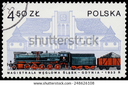 POLAND - CIRCA 1978: Stamp printed in Poland shows steam locomotive, the railway station in Gdinia circa 1978 - stock photo