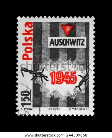 POLAND - CIRCA 1975: vintage cancelled stamp printed in Poland shows Auschwitz concentration camp.
