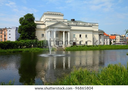 Poland - city view in Kalisz. Greater Poland province (Wielkopolska). Theatre building.