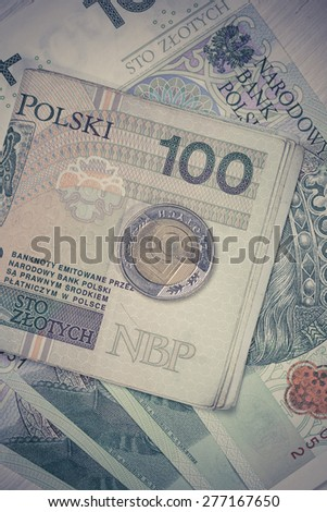 Poland currency money polish zloty banknotes and coins. Close-up