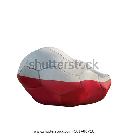 poland deflated soccer ball isolated on white - stock photo