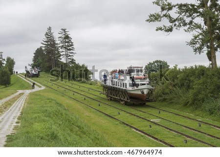 POLAND, ELBLAG, 2016-07-22: Tourist boat being transported on rails at one of the four inclined planes of the Elblag Canal from one water level to the next. The system operates by water power only
