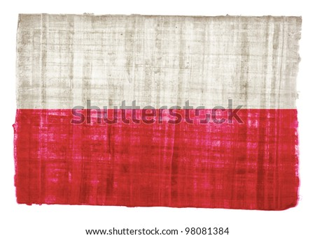 Poland flag on original papyrus background - stock photo