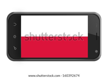 Poland flag on smartphone screen isolated on white - stock photo