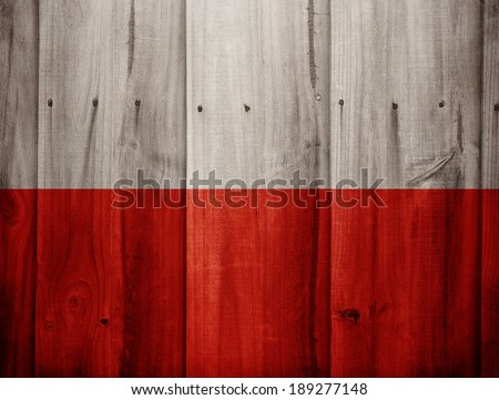 Poland flag painted on wooden fence