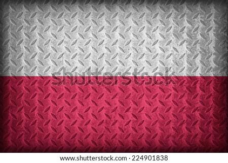 Poland flag pattern on the diamond metal plate texture ,vintage style - stock photo