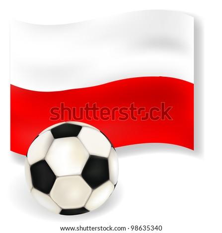 Poland flag with football - stock photo