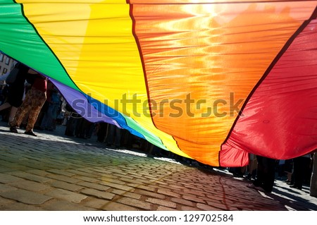 Poland, Gay Pride, Rainbow banner - stock photo