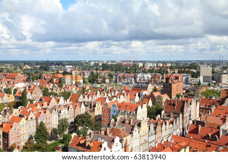 Poland - Gdansk city (also know nas Danzig) in Pomerania region. Old town aerial view.