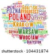 Poland map and words cloud with larger cities - stock