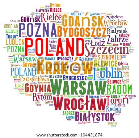 Poland map and words cloud with larger cities - stock photo
