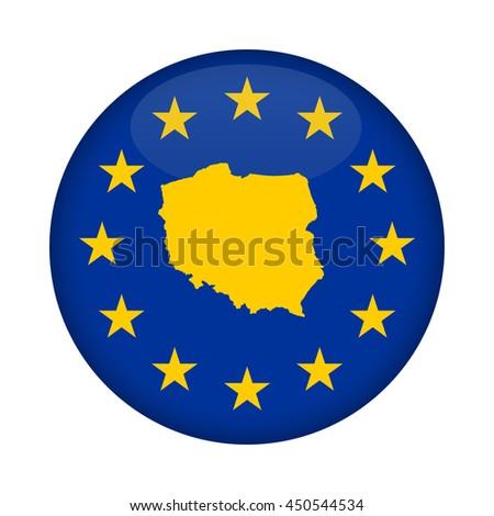 Poland map on a European Union flag button isolated on a white background. - stock photo