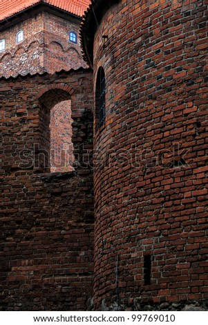 Poland old castle Nidzica old teutonic - stock photo