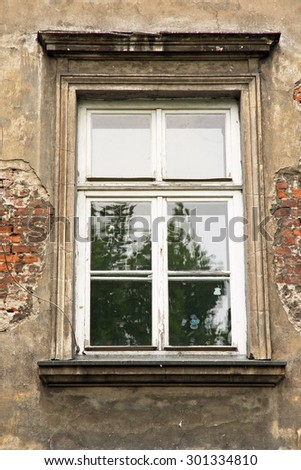 Poland. Old Window in an old house in Krakow. - stock photo