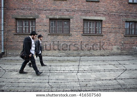Poland, Oswiecim - May 5, 2016: International Holocaust Remembrance Day. Thousands of judges come to Auschwitz Birkenau to join The March of the Living in german concentration camp. - stock photo