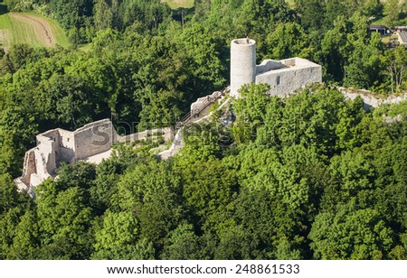 POLAND, PILICA CASTLE - JUNE 07, 2014: Aerial view of Pilica castle near Ogrodzieniec in Poland