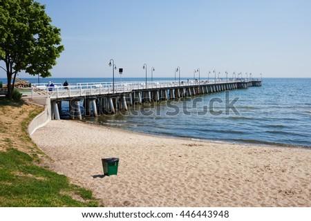 Poland, Pomerania, Gdynia, Baltic Sea, beach and pier in Orlowo district - stock photo