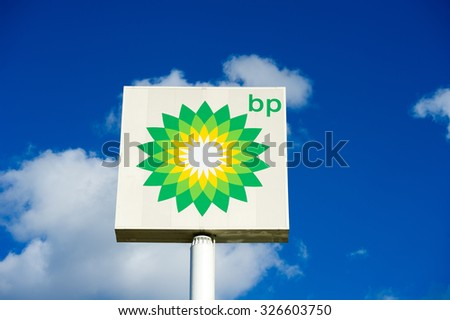 POLAND - SEP 27: BP - British Petroleum petrol station logo on Sep. 27, 2015 in Poland. British Petroleum is a British multinational oil and gas company headquartered in London, England. - stock photo