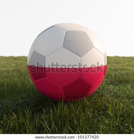 poland soccer ball isolated on grass - stock photo