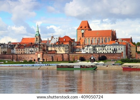 Poland - Torun, city divided by Vistula river between Pomerania and Kuyavia regions. The medieval old town is a UNESCO World Heritage Site. - stock photo