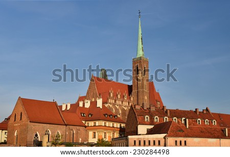 Poland . View on the old city in Wroclaw - stock photo