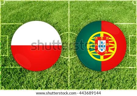 Poland vs Portugal - stock photo